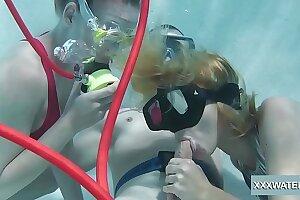 Minnie Manga and Marcie deep-throat hefty hard-on in the pool
