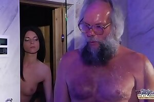 Teenage Sensuous Dick Massage and Cunt plumb with gigantic manstick grandfather red-hot