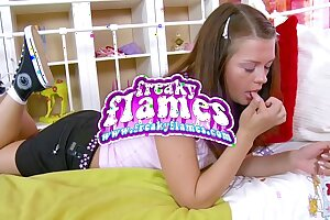 Jummy youthful puny lolita teenage girlfriend with tight culo coerced to blow and pulverize