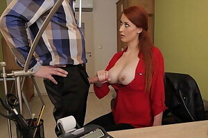 VIP4K. Vet doctor with giant breasts sucks and drills for mon
