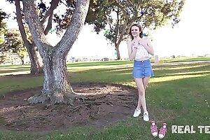 Real Teens - New doll Addee public demonstrating & masturbation