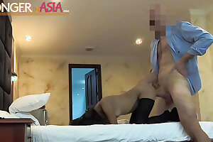 Tiny Thai hooker fucked and creampied by a big cock