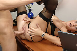 Yam-sized inborn Baps Secretary with Glasses Gets Rough Fuck in Office
