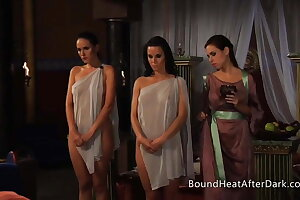 Lezzy Girls Disrobed By Authoritative Madame With Whip In Forearm