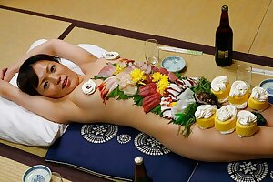 Chinese gal Asuka Ayanami is a food plate, uncensored