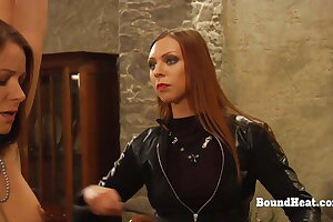 Bound Lesbian Slaves Whipped And Trained By Merciless Madame