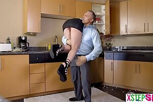 Crazy teenage stepdaughter penalized by her senior step-dad